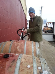 Linus filling the barrel