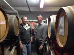 Me and Skyler in the Yazoo barrel aging area